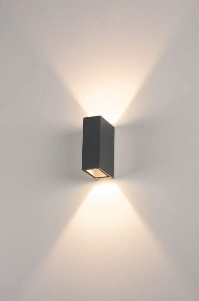 Narrow LED wall spotlight in anthracite surface with double-sided emission for indoor and outdoor applications