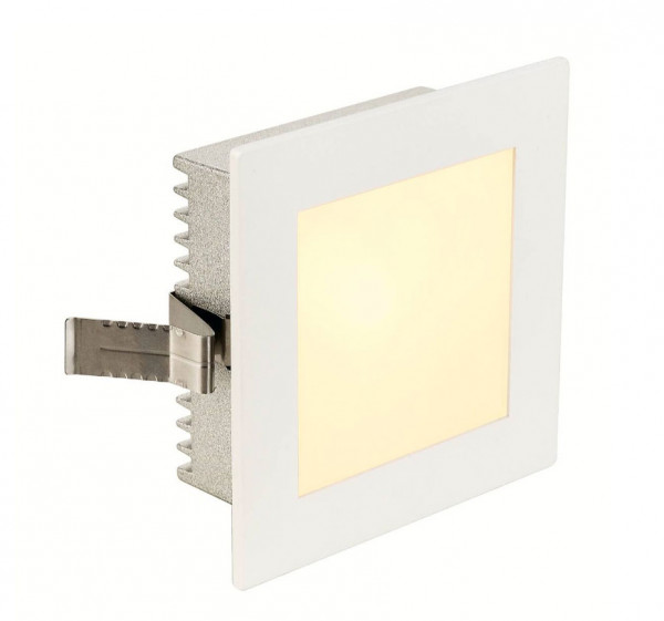 White surface: 12V recessed wall luminaire for illuminating stairs, corridors or passages near the floor. The lamp, either LED or halogen, is interchangeable