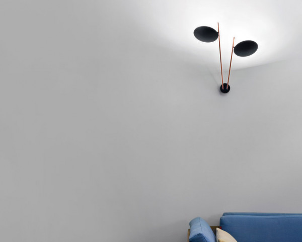 Wall lamp LEDERAM W2 by Catellani & Smith - here the variant LW22 with black reflector discs, rods satined (photo shows different surface)