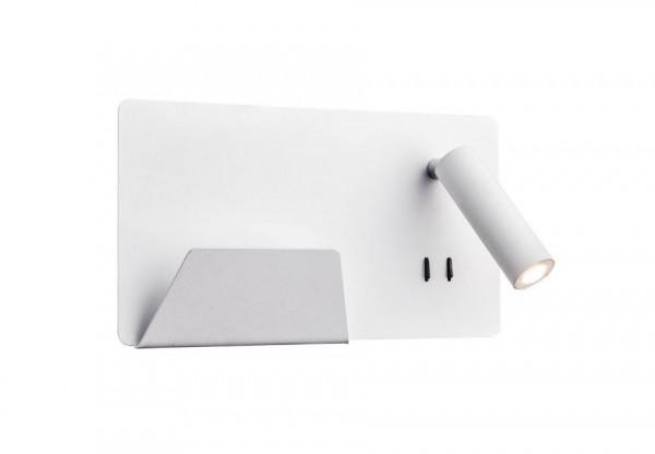 Reading lamp with USB charging socket and two separately switchable light sources - here version on the left with white surface