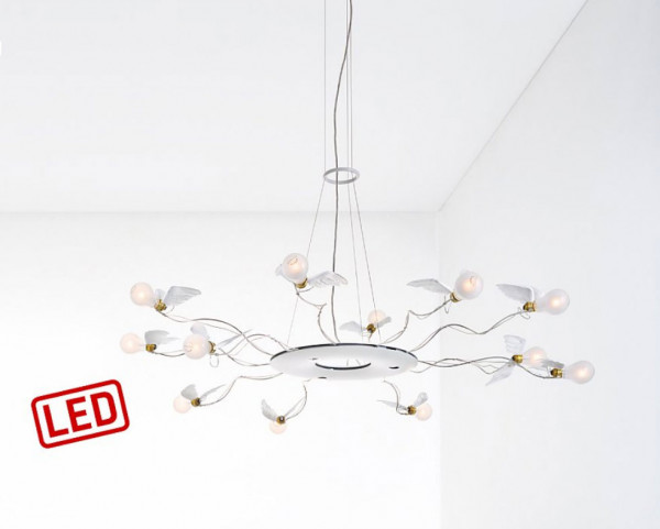 LED ceiling light / pendant Birdie's Ring by Ingo Maurer with 12x LED light bulb with goose feather and 3x 4.3W downlight