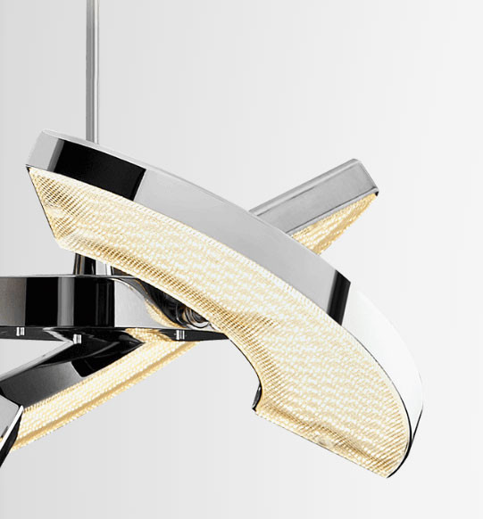 LED pendant lamp from the Oligo Plus range in surface Chrome