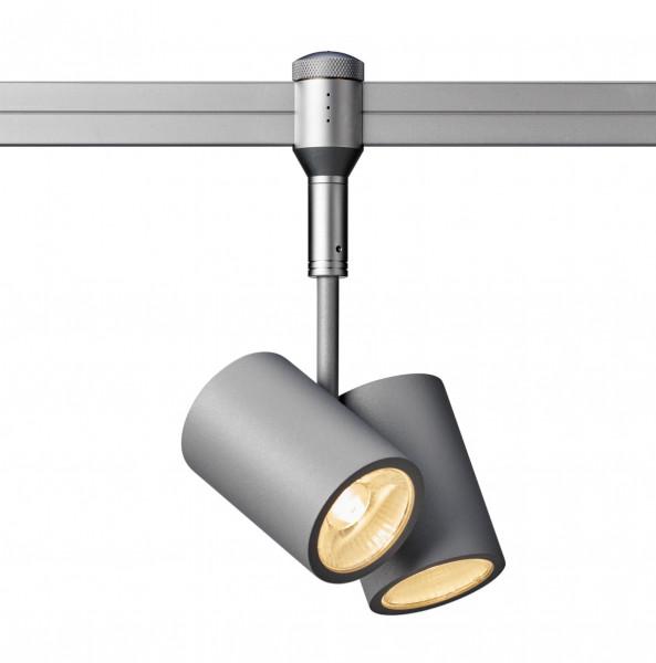 LED-Strahler Walley mit Doppelkopf von Oligo für das CHECK IN Schienensystem