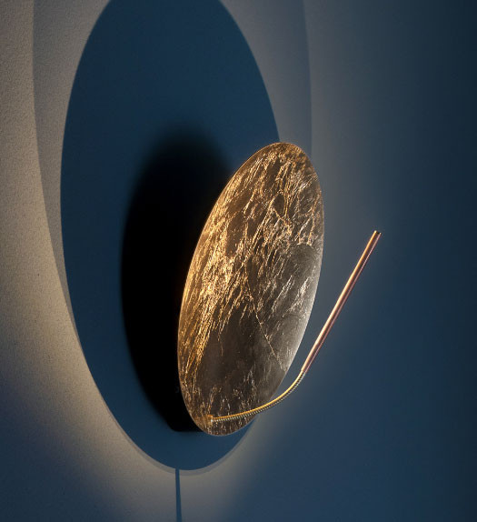 Wall lamp LUNA W by Catellani & Smith - here the version coated with gold leaf