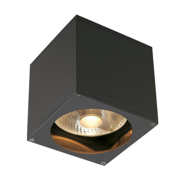 LED facade spotlight in anthracite surface, one-sided emission for exchangeable GU10 / QPAR111 LED or halogen lamps
