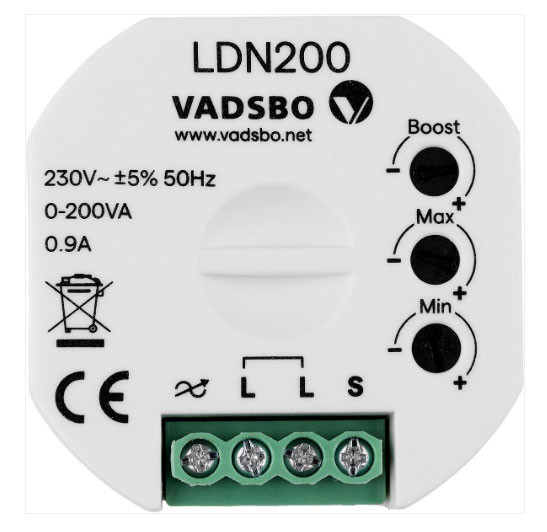 LED pushbutton dimmer with boost function and adjustment for min and max brightness