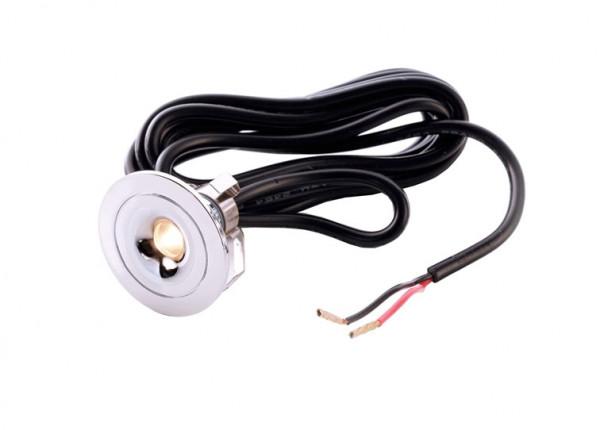 Kleine LED-Einbauleuchte mit Schutzart IP44 zum Einbau in Sternenhimmel, als Leuchte für Nieschen in Duschen oder Badezimmern.