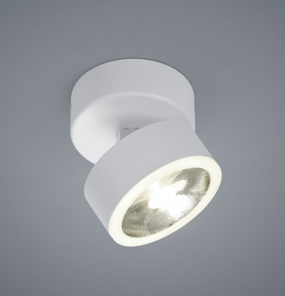 LED spotlight with very narrow beam angle 12°, rotatable and tiltable , in matte white finish.