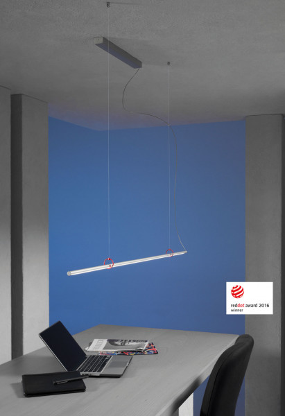 LED pendant lamp SLIMLINE by Escale with gesture control - surface brushed aluminium