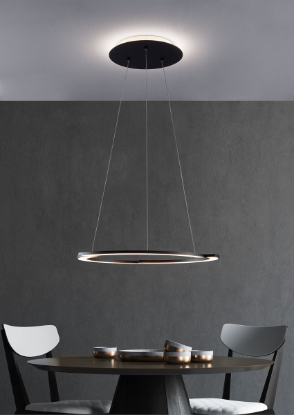 LED pendant lamp ARC by Escale in which the canopy and lamp head can be dimmed and switched separately