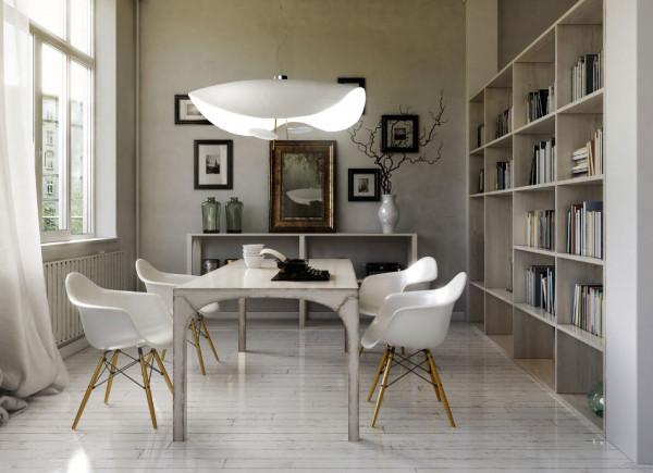 LED Pendant Lamp LEDERAM MANTA S2 by Catellani & Smith - here the variant ceiling plate outside white, reflector white, golden pole, light source plate white