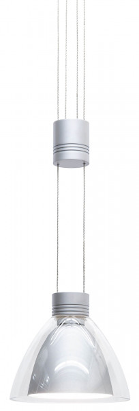 12V pendant lamp PULL-IT by Oligo - here the variant with clear glass outside and inside metal screen