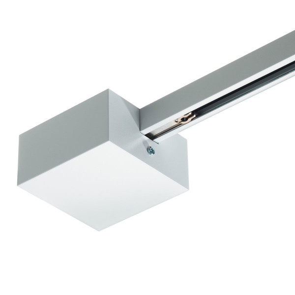 End infeed with canopy for the 230V track system DUOLARE from Bruck - here the variant in surface white