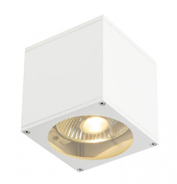 LED facade spotlight in white surface, emitting on one side for interchangeable GU10 / QPAR111 LED or halogen lamps
