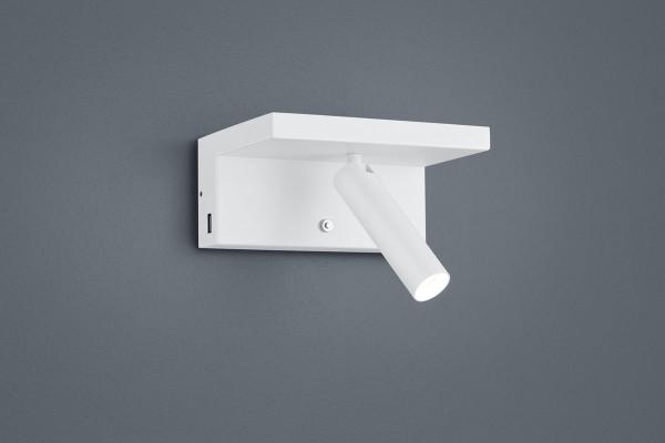 LED Leseleuchte 2x USB Anschluß und dreistufigem Dimm-Taster - hier die Variante in Oberfläche weiß