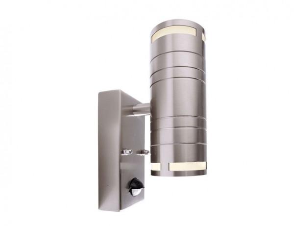 Fassadenstrahler in Edelstahl, doppelseitig abstrahlend für austauschbare GU10 / QPAR51 LED- oder Halogen-Leuchtmittel. Mit eingebautem Infrarot Bewegungsmelder / Sensor