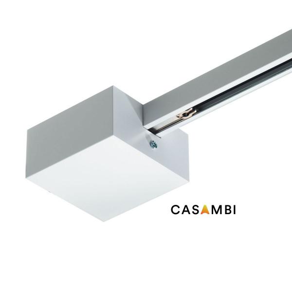End-Einspeisung mit 2 eingebauten CASAMBI-Funkmodulen für das 230V Schienensystem DUOLARE von Bruck - hier die Variante in Oberfläche weiß