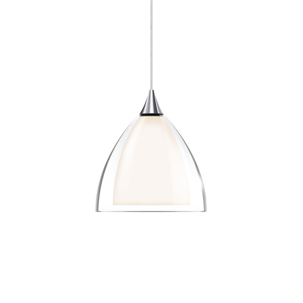 Pendant luminaire SILVA 160 for the 230V track system DUOLARE from Bruck - here the version with glass outside transparent, glass inside white, metal surface chrome