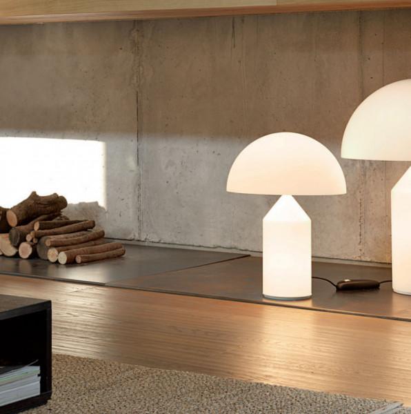 Desisgnklassiker Tischleuchte Atollo 235, 236 und 237 von Fa. Oluce aus Glas, lieferbar in 3 Größen