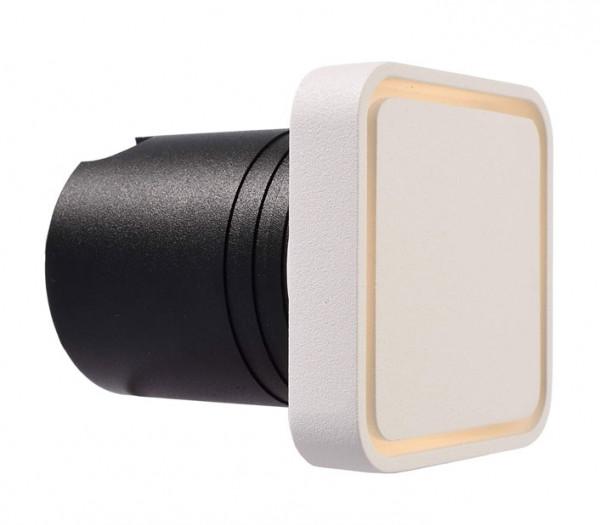 LED Wandeinbauleuchte zum Direktanschluß an 230V. Wahlweise zum Einbau in Mauerwerk durch mitgelieferte Einbauhülse oder Einbau in Hohlwände durch Montageklammern