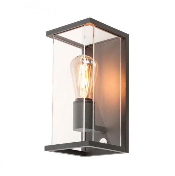 LED Fassadenleuchte rundum strahlend in Oberfläche anthrazit mit E27 Sockel für auswechselbare Leuchtmittel. Mit eingebautem Bewegungssensor zum automatischen Schalten beim Erkennen einer Person