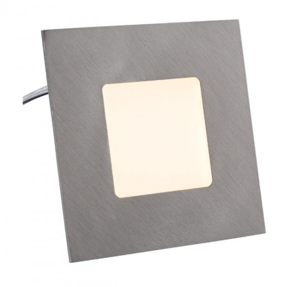LED recessed wall luminaire for lighting floors, as staircase lighting, as orientation light or hallway lighting - here the version in brushed stainless steel surface