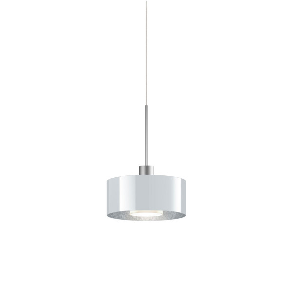 LED pendant light CANTARA glass 190 for the 230V track system DUOLARE from Bruck - here the version with glass outside white, inside silver leaf with the metal surface matt chrome