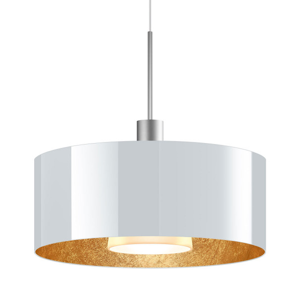 LED pendant light CANTARA glass 300 for the 230V track system DUOLARE from Bruck - here the version with glass outside white, inside gold leaf with the metal surface matt chrome