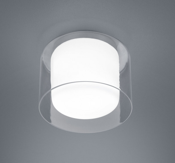 LED surface mounted luminaire with opal inner glass and clear outer glass. Thanks to protection class IP44 also very well usable in the bathroom or damp rooms.