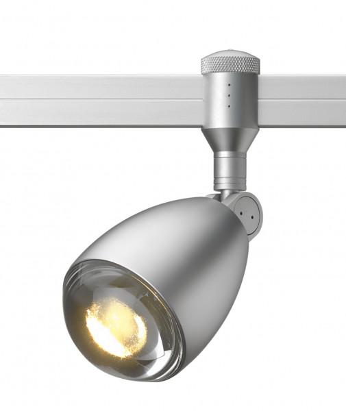 LED-Leuchte ROCKET Spot für das CHECK IN Schienensystem von Oligo - hier die Variante in Oberfläche chrom matt