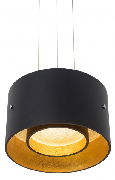 LED pendant lamp TROFEO by Oligo - here the variant with lamp head in Matt black / Gold leaf