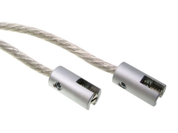 Pair of power terminals with cable for the LIGHT LINE system - here the variant in surface matt chrome
