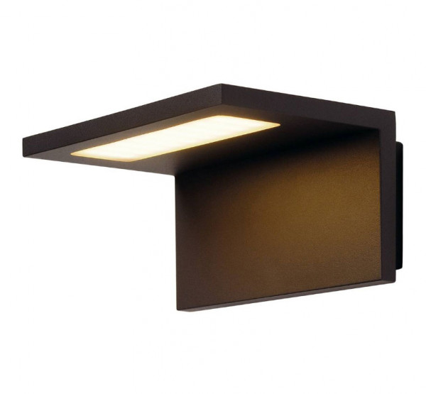 LED wall light in anthracite surface with one-sided radiation for patios, balconies, facades etc.
