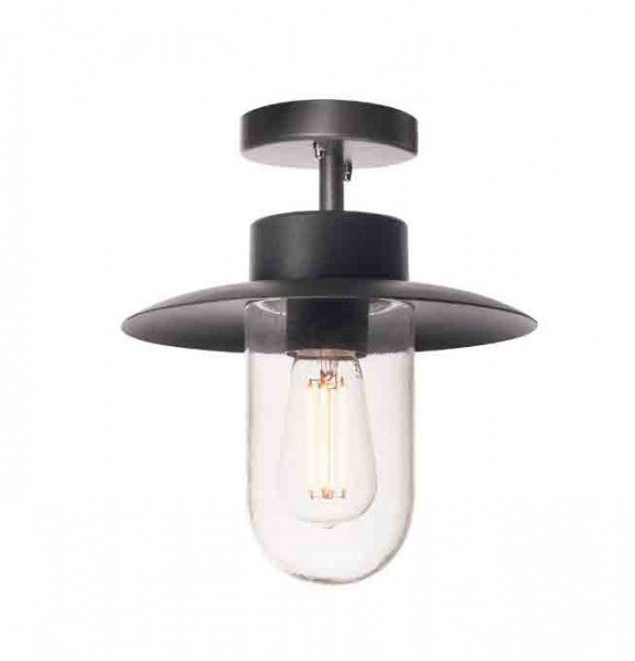 Ceiling lamp with a retro look for interchangeable E27 retrofit LED lamps. For use on balconies, under canopies, in garages, porches and much more outdoors.