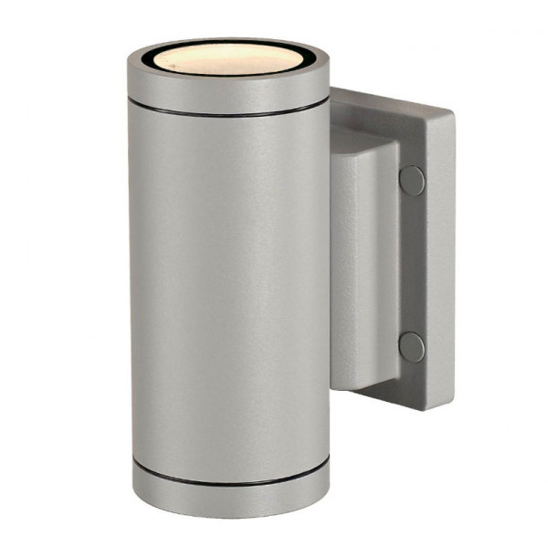 Facade spotlight with gray double-sided surface for exchangeable retrofit lamps