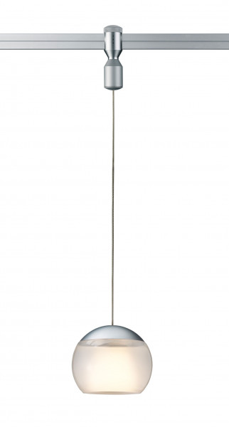 Suspension lamp BALINO for the rail system CHECK from Oligo - here the version with rail adapter in matt chrome and satinised glass