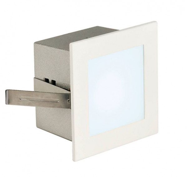 White surface: LED recessed wall light for illuminating stairs, corridors or passages near the floor.