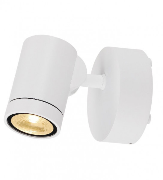 Swiveling and rotating wall and ceiling spotlights for outdoor applications with a white surface
