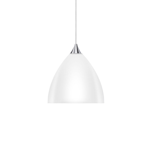 Pendant luminaire SILVA 160 for the 230V track system DUOLARE from Bruck - here the variant with glass white, metal surface chrome