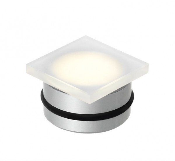 Square recessed floor luminaire that can be installed flush with the floor with a small installation depth. Suitable for indoor and outdoor use. Is used as a point of light, as an orientation light e.g. in hallways, bedrooms, entrance areas, garage entrances, etc.