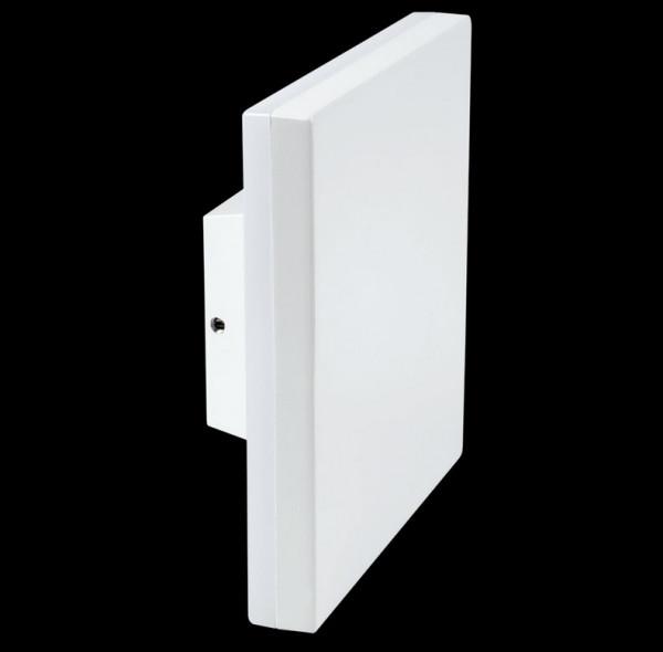 LED Wandaufbau-Leuchte ohne Einbautiefe zum direkten Aufschrauben auf den 230V-Auslass - hier die Variante in Oberfläche weiß