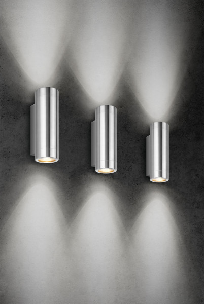 Facade spotlight made of stainless steel, double-sided for interchangeable retrofit lamps
