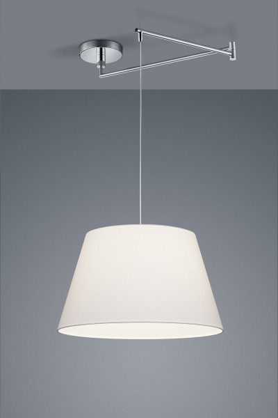 Pendant lamp with fabric shade and articulated arm - here the version with conical shade and fabric Chintz white