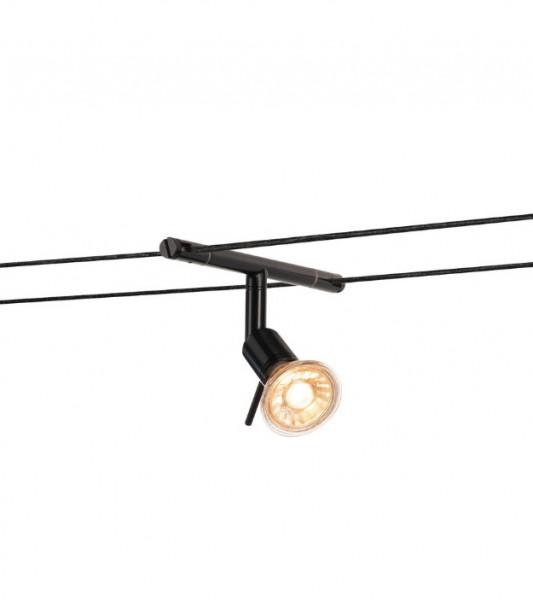 Seilsystem-Leuchte NEPTUN für 15.5cm Seilabstand. Wir liefern diese Leuchte wahlweise in den Oberflächen weiss, schwarz oder chrom
