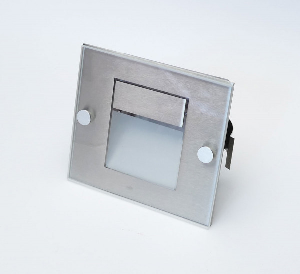 LED recessed wall light made of stainless steel with glass cover