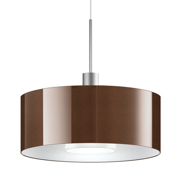 LED pendant light CANTARA glass 300 for the 230V track system DUOLARE from Bruck - here the variant with glass outside bronze, inside white with the metal surface matt chrome
