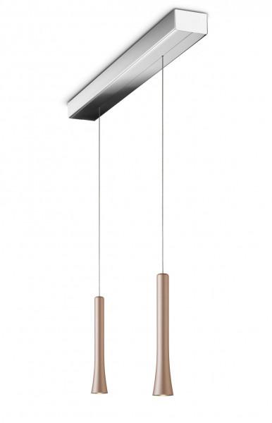 LED-Pendelleuchte RIO 2-flammig mit unsichtbarer Höhenverstellung - hier die Variante mit Leuchtenköpfen in Satin copper