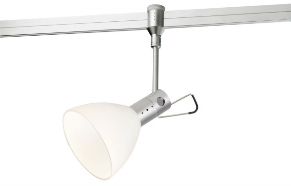 Spotlight MX-HIGH for the rail system CHECK IN by Oligo - here with optional accessories Glass shade white with d = 100m
