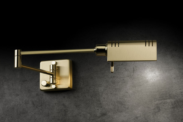 LED reading light by Holtkötter with articulated arm and rotary dimmer - here the variant in polished brass surface / brass matt