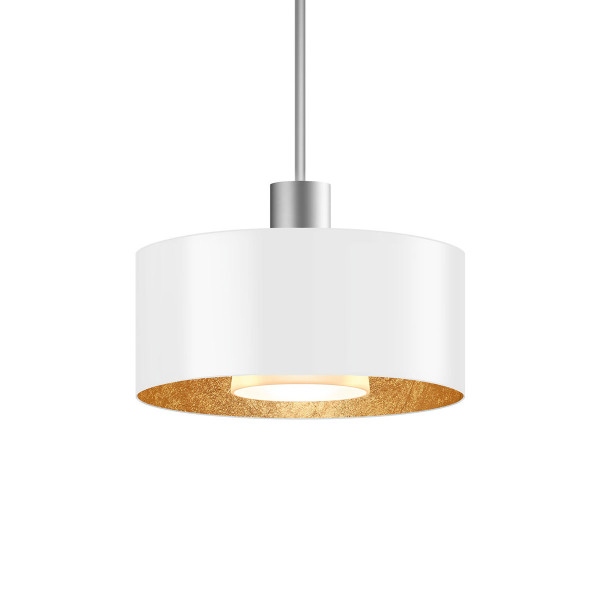 LED pendant lamp CANTARA metal 190 for the 230V track system DUOLARE from Bruck - here the version with outside shade white, inside gold leaf with the metal surface matt chrome